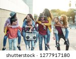 happy millennials friends... | Shutterstock . vector #1277917180