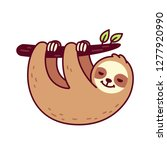 cute sloth hanging from tree... | Shutterstock .eps vector #1277920990