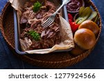 homemade pulled pork with... | Shutterstock . vector #1277924566