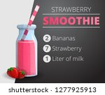 strawberry smoothie concept... | Shutterstock . vector #1277925913