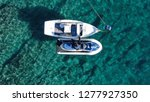 Aerial Top View Of Jet Ski And...