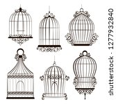 vintage birdcages collection.... | Shutterstock . vector #1277932840