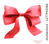 red bow. watercolor...   Shutterstock . vector #1277943586