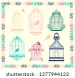 vintage bird cages collection.... | Shutterstock . vector #1277944123