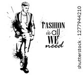 man model dressed in jeans... | Shutterstock . vector #1277944210