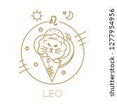 leo  lion cub  zodiac sign ... | Shutterstock .eps vector #1277954956
