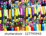 Stock photo colorful collar cat with small bell in shelves for sell 127795943