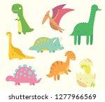 set of cute baby dinosaurs.... | Shutterstock .eps vector #1277966569