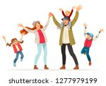 happy family is jumping. father ... | Shutterstock .eps vector #1277979199