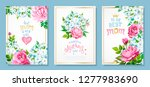 happy mothers day. set of three ... | Shutterstock .eps vector #1277983690