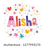 alisha girls name decorative... | Shutterstock .eps vector #1277993170