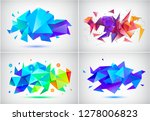 vector set of abstract facet 3d ... | Shutterstock .eps vector #1278006823