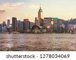 sunset view of hong kong island ... | Shutterstock . vector #1278034069