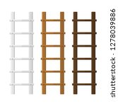wooden stairs set. white  brown ... | Shutterstock . vector #1278039886