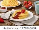 waffles and jam on breakfast... | Shutterstock . vector #1278048430