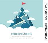 flag on the mountain peak. way... | Shutterstock .eps vector #1278057193