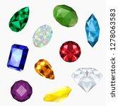 low poly set of gem jewel ...   Shutterstock .eps vector #1278063583