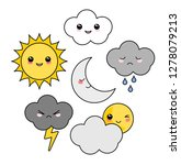 cute kawaii weather icon set | Shutterstock .eps vector #1278079213