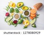 vegan food background. balanced ... | Shutterstock . vector #1278080929