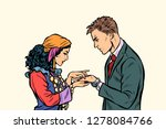 a gypsy telling fortunes by the ... | Shutterstock .eps vector #1278084766
