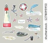 vector stickers design. marine... | Shutterstock .eps vector #1278095953