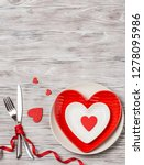 Stock photo dinner table with plate love concept for mother s day and valentine s day valentine love 1278095986