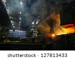 kosice   april 25   workers in... | Shutterstock . vector #127813433