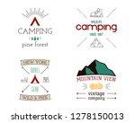 mountain camping logos set.... | Shutterstock .eps vector #1278150013