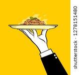 waiter holding pasta dish | Shutterstock .eps vector #1278151480