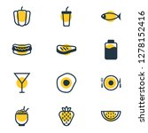 illustration of 12 eating icons ... | Shutterstock . vector #1278152416