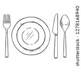 vector sketch dining set   fork ... | Shutterstock .eps vector #1278168940