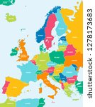 colorful vector map of europe | Shutterstock .eps vector #1278173683