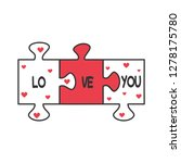 cute cartoon romantic vector... | Shutterstock .eps vector #1278175780