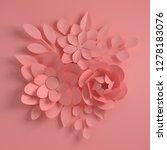 paper elegant pink flowers on...   Shutterstock . vector #1278183076