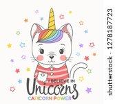 unicorn cat girl face. i... | Shutterstock .eps vector #1278187723