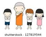 little thai children  asian... | Shutterstock .eps vector #127819544