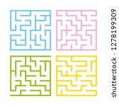 set of colored square mazes.... | Shutterstock .eps vector #1278199309