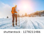 happy woman tourist walking on... | Shutterstock . vector #1278211486