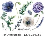 hand painted blue floral... | Shutterstock . vector #1278234169