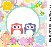 funny colored cute owl with... | Shutterstock . vector #127823486