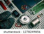 top view camping equipment... | Shutterstock . vector #1278249856