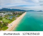 Beautiful panoramic aerophoto of the tropical island of Hainan. one of the best luxury beaches of the Yalong Bay. China, Hainan, Sanya.