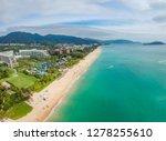 Beautiful panoramic aerophoto of the tropical island of Hainan. one of the best luxury beaches of the Yalong Bay. China, Hainan, Sanya.