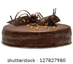 Chocolate Cake Isolated On...