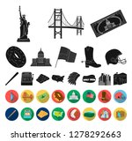 usa country black flat icons in ... | Shutterstock .eps vector #1278292663