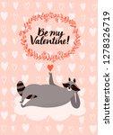 cute hand drawn cartoon raccoon....   Shutterstock .eps vector #1278326719
