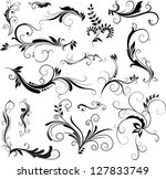 set of hand drawn floral... | Shutterstock . vector #127833749