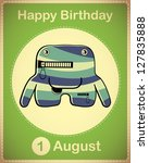 happy birthday card with cute... | Shutterstock .eps vector #127835888