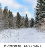 sunny winter day in the forest... | Shutterstock . vector #1278376876