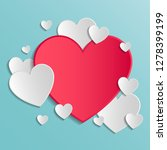 greeting card with paper hearts ... | Shutterstock .eps vector #1278399199